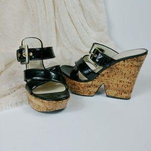 Casadei Black Patent Leather Platform Sandals